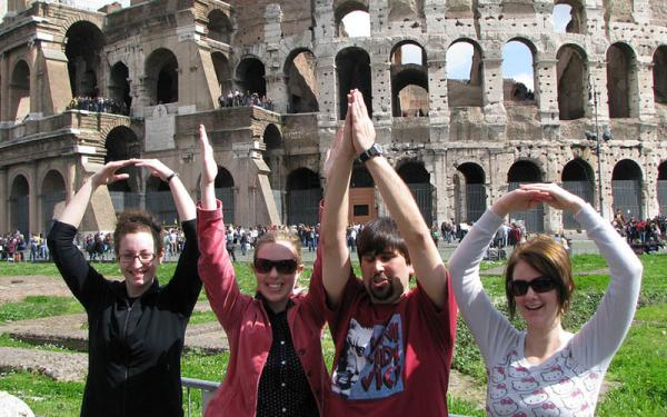 Students doing O-H-I-O in front of Colliseum