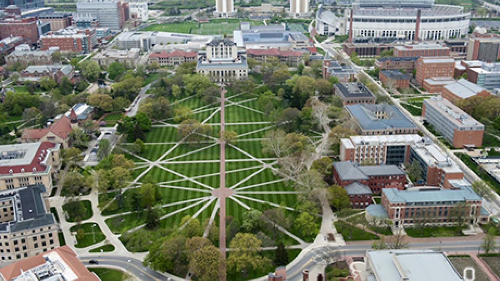 Aeriel view of the Oval Mall at Ohio State University